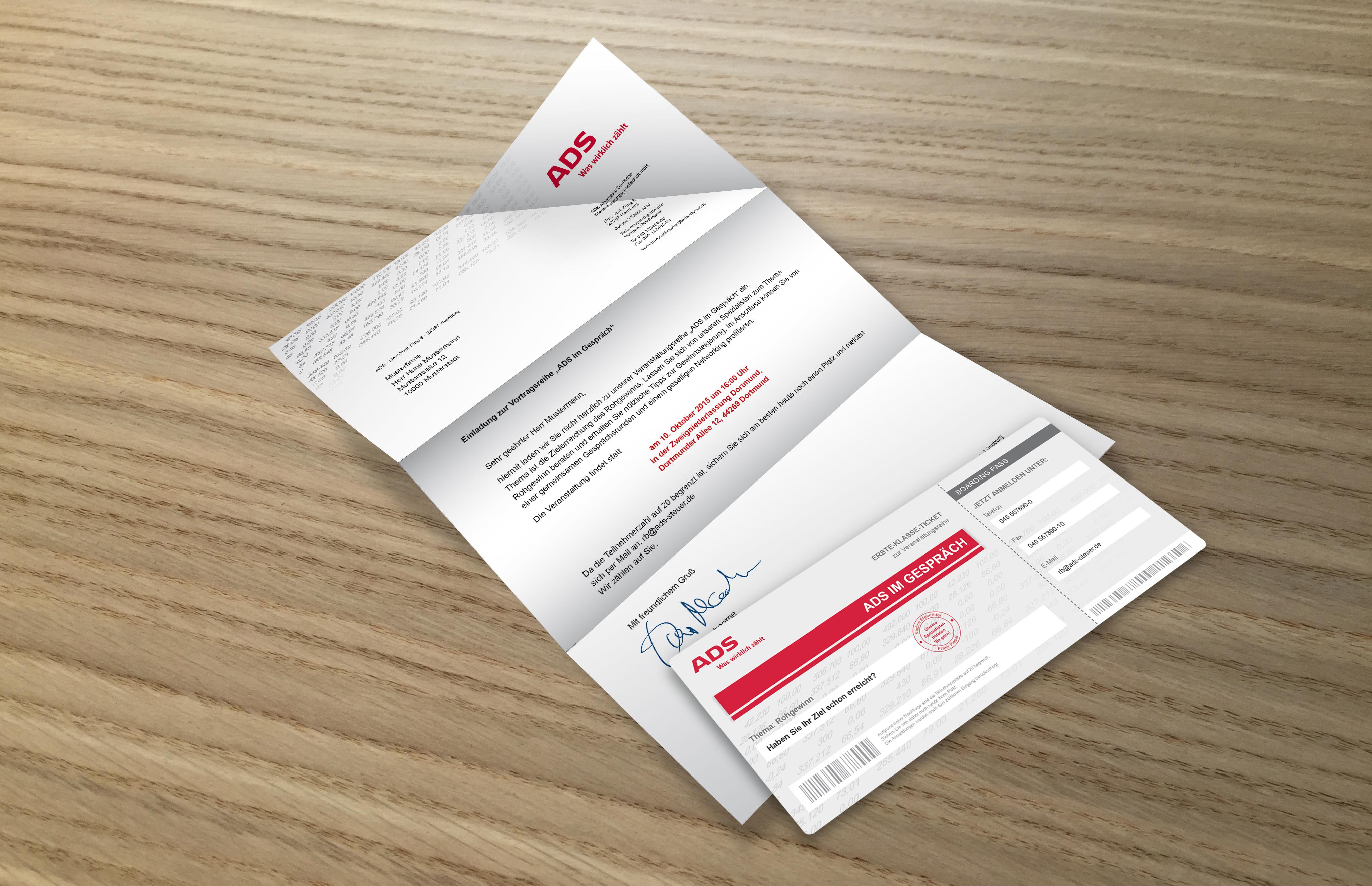 ADS Einladung Bordkarten und Brief