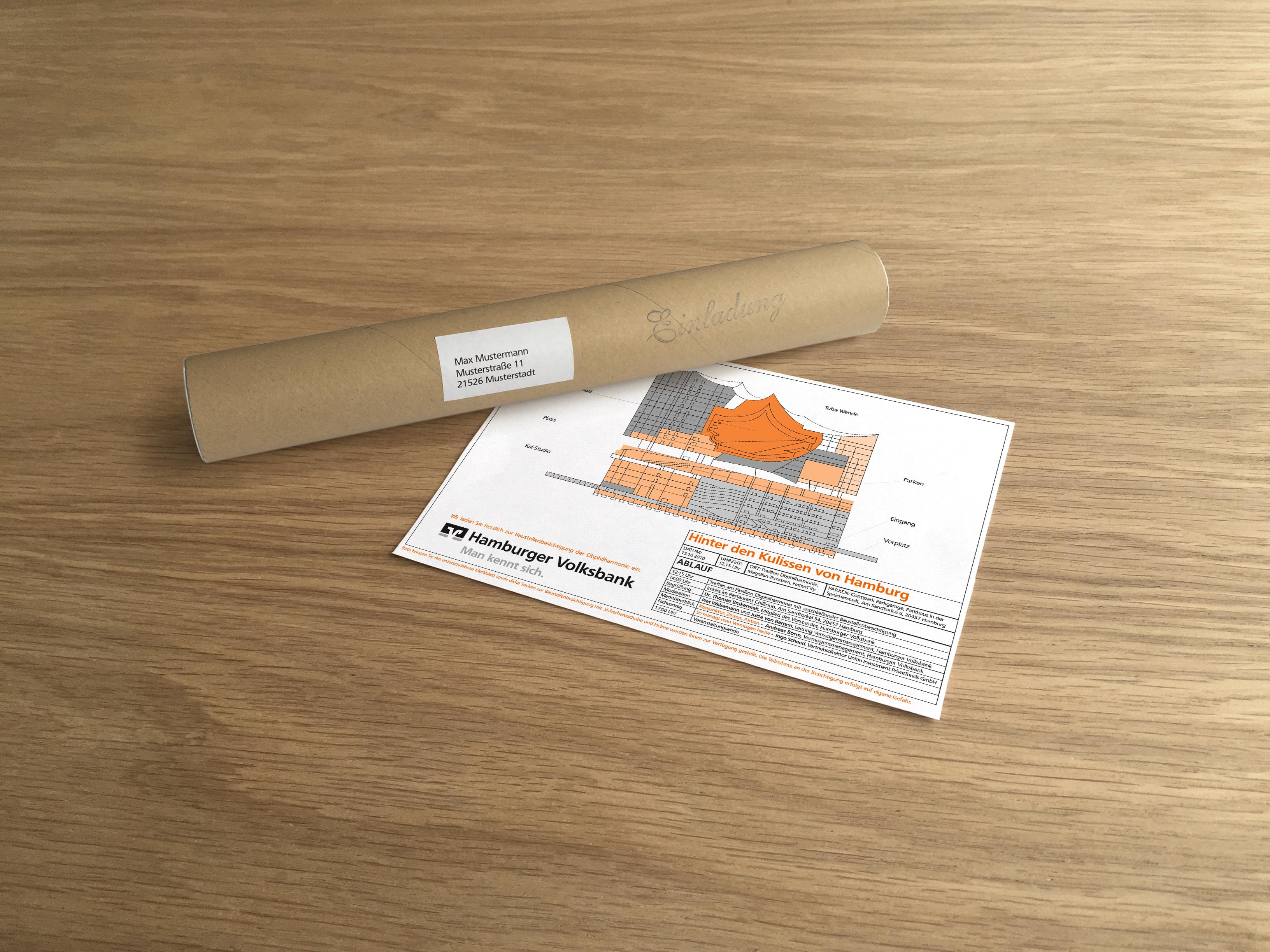 Hamburger Volksbank Einladung Baustellenbesichtigung Elbphilharmonie