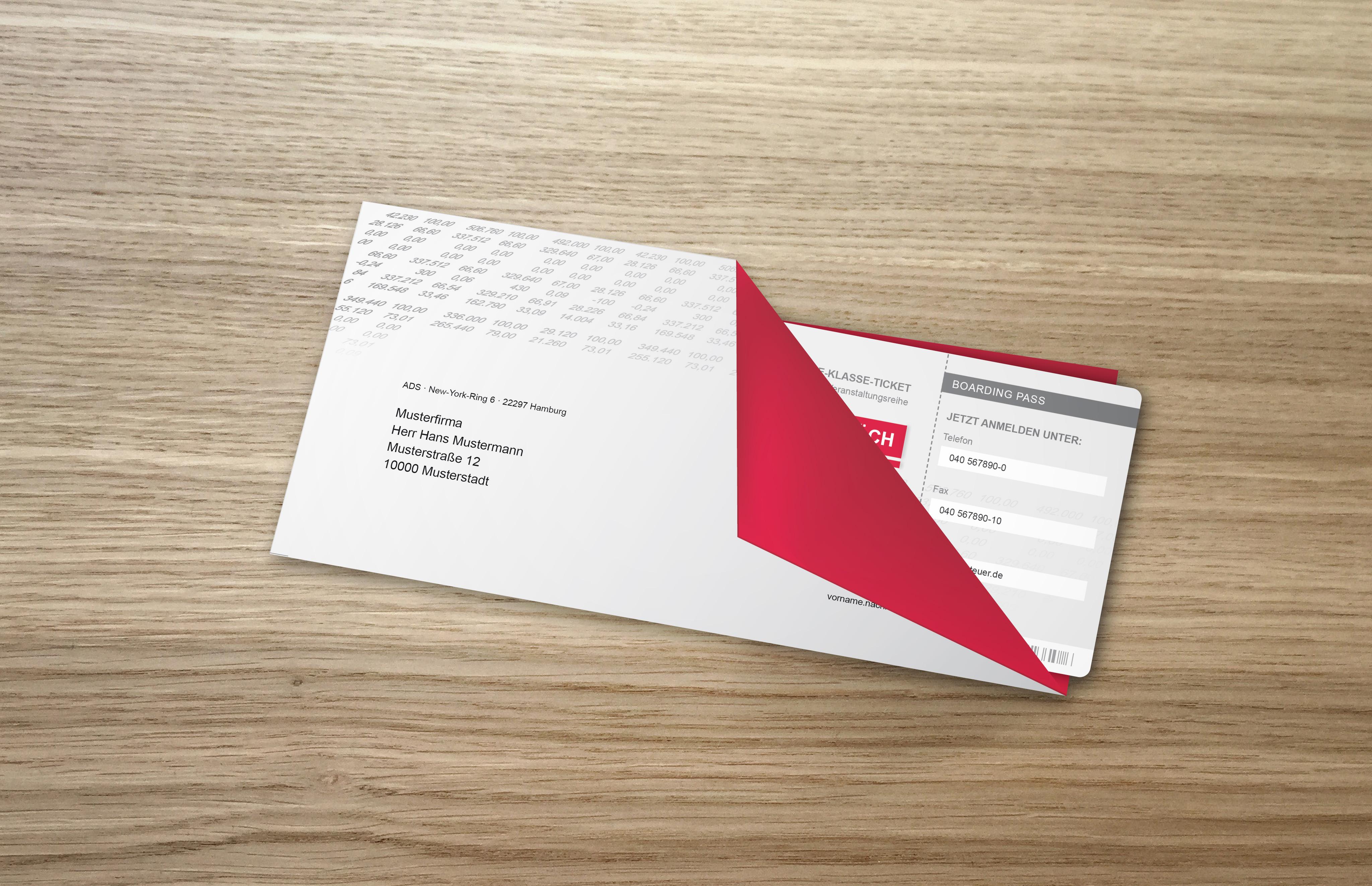 ADS Einladung Bordkarten und Brief gefaltet